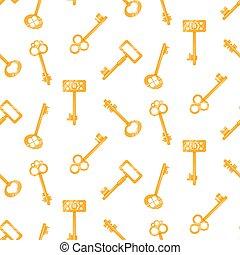 金, キー, パターン, seamless, バックグラウンド。, ベクトル, white., キー, 漫画, レトロ