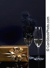 金, ギフトの弓, 2, シャンペン, バックグラウンド。, ペーパー, 黒, ガラス
