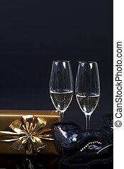 金, ギフトの弓, 2, シャンペン, ペーパー, 黒い背景, ガラス