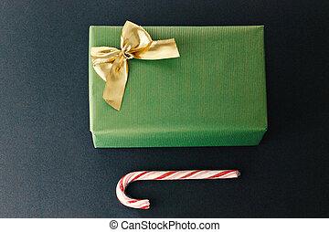 金, ギフトの 包むこと, 弓, ペーパー, 包まれた, クリスマス