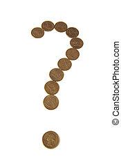 金, クエスチョンマーク, 背景, コイン, 白