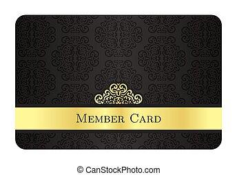 金, クラシック, パターン, メンバー, 型, カード