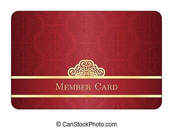 金, クラシック, 型, ラベル, メンバー, カード, パターン, 赤