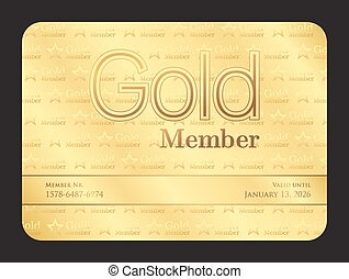 金, クラブ, パターン, メンバー, 星, 小さい, カード