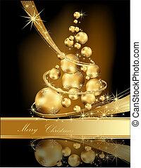 金, クリスマスツリー, 作られた, の, ボール