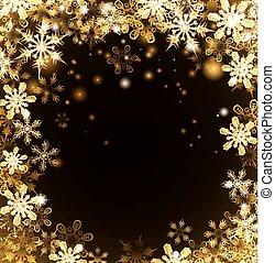 金, クリスマス, 背景, 雪片