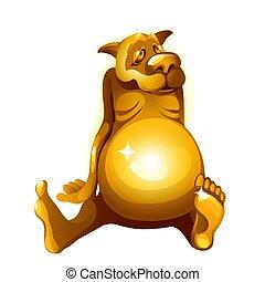 金, クローズアップ, illustration., itself, 犬, 隔離された, 小立像, バックグラウンド。, ベクトル, gorged, 白, 漫画