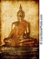 金, グランジ, 像, イメージ, 仏, 背景, ayutthaya, tem