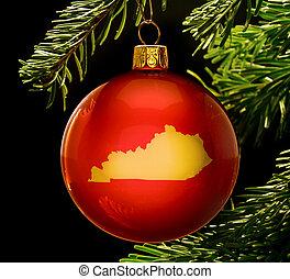 金, ケンタッキー, 安っぽい飾り, 形, tree.(series), 掛かること, クリスマス, 赤