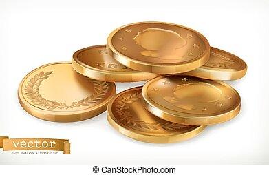 金, コイン。, お金, ベクトル, アイコン, 3d