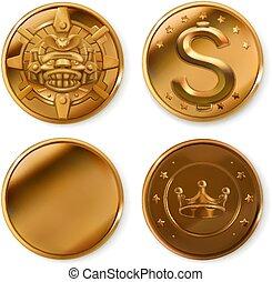 金, コイン。, セット, ベクトル, 3d, アイコン