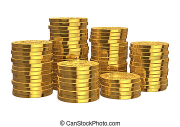 金, コイン, 山