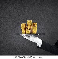 金, コイン。, 概念, サービス, ウエーター, 手掛かり, サッカー, トレー, クラス, 最初に