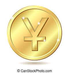 金, コイン, yuan, 印