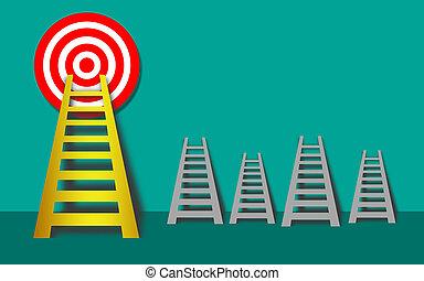 金, ゴール, はしご, 高く, 狙いを定める, ターゲット