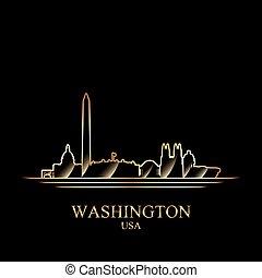 金, シルエット, の, ワシントン, 上に, 黒い背景