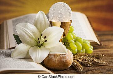 金, シンボル, キリスト教, 聖杯, 宗教, ブドウ, ウエハース, bread