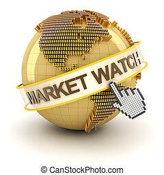 金, シンボル, 腕時計, 手, カーソル, 地球, 市場