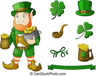 金, スケッチ, セット, ポット, 手, ビールマグ, 帽子, 引かれる, leprechaun, コイン, clower