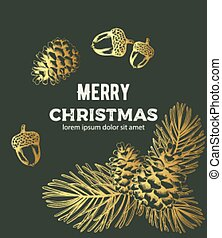 金, スケッチ, 装飾, 構成, スタイル, メリークリスマス
