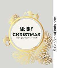 金, スケッチ, 装飾, 構成, 花輪, 陽気, スタイル, クリスマス