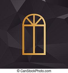 金, スタイル, 単純である, 印。, 窓, 背景, polygons.