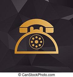 金, スタイル, 印。, 電話, レトロ, 背景, polygons.