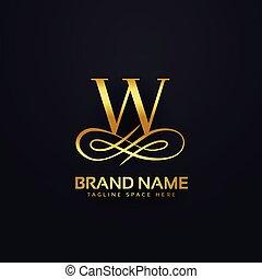 金, スタイル, 手紙, ブランド, デザイン, w, ロゴ