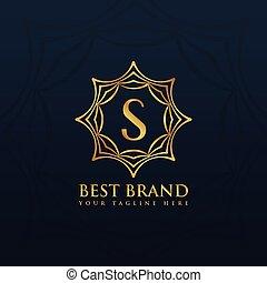 金, スタイル, 抽象的, s, デザイン, 手紙, ロゴ, フレーム