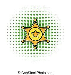 金, スタイル, 星, 保安官, 漫画, アイコン, バッジ