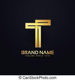 金, スタイル, 概念, 優れた, デザイン, t, 手紙, ロゴ
