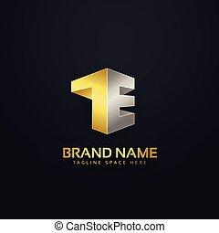 金, スタイル, 概念, 優れた, デザイン, t, 手紙, ロゴ, e