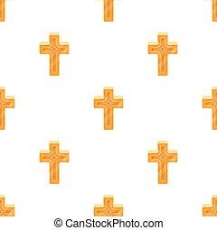 金, スタイル, illustration., シンボル, cross., 単一, ベクトル, アイコン, イースター, 漫画, 株