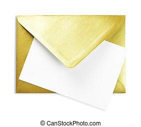 金, スペース, 封筒, 白, コピー, カード