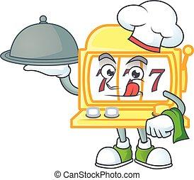 金, スロットマシン, シェフ, 食物, サーブ, 準備ができた, トレー, アイコン