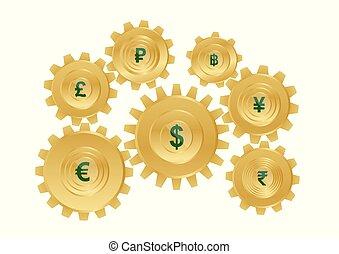 金, セット, ギヤ, 通貨, symbols., 世界
