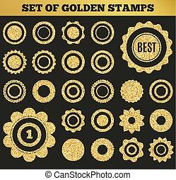 金, セット, グランジ, shapes., イラスト, stamp., ベクトル, ラウンド