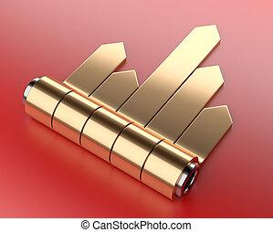 金, セット, チャート, 矢, cylinder., ステッカー, 3d