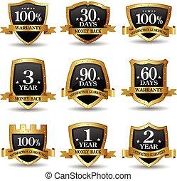 金, セット, ラベル, パーセント, ベクトル, 100, 保証