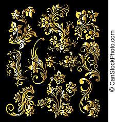金, セット, 型, 装飾, 装飾, 要素, 花