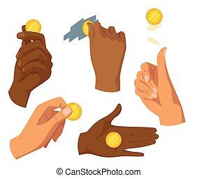 金, セット, 平ら, コイン, 手を持つ, イラスト