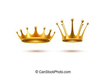 金, セット, 王冠, 現実的, ベクトル, 3d