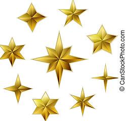 金, セット, 現実的, ベクトル, 星, 3d