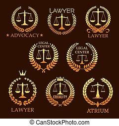 金, セット, 紋章, 正義のスケール, 弁護士