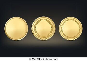 金, セット, 賞, バックグラウンド。, ベクトル, 黒, メダル