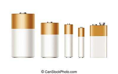 金, セット, diffrent, 電池, 白, 大きさ