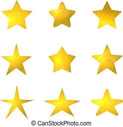 金, セット, isolated., コレクション, 星, ベクトル, 印, 照ること