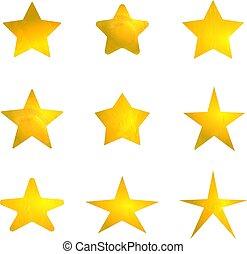 金, セット, isolated., 星, ベクトル, 印, 照ること