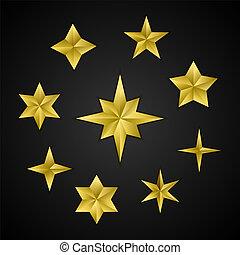 金, セット, stars., 現実的, ベクトル, 3d