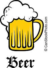 金, タンカード, ガラス, 泡だらけ, ビール, パイント